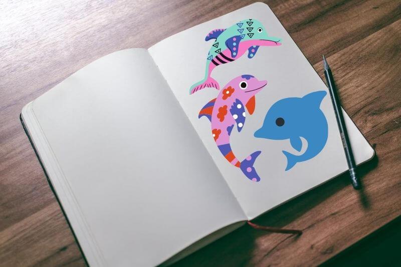 Libros con dibujos para colorear delfines